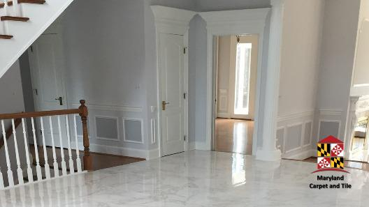 Entry way to this mansion, marble floors
